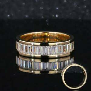 14K YELLOW GOLD OVER CHANNEL SET ENGAGEMENT WEDDING ETERNITY RING 2 CT BAGUETTE
