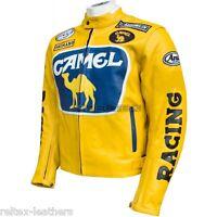 Classic Camel Racing Yellow Motorbike Motorcycle Armoured Leather Biker Jacket