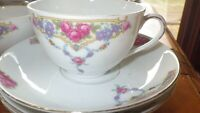 Fine China Dinnerware set Pink Rose Floral VIT202 by VICTORIA CZECH Ser 4 24pc