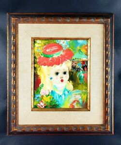 Santini Poncini Girl Painting Oil on Canvas Paris Framed