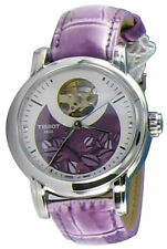 Tissot Lady Heart Automatic Violet Leather Women Watch T0502071603100 New in Box