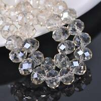 10pcs 10x14mm Rondelle Crystal Glass Faceted Loose Beads DIY Light Champagne