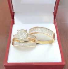 Trio Wedding Ring Sets 14K Yellow Gold Over His And Her Diamond Engagement Band