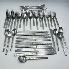 "37 Pieces Vintage MCM Modernist Flatware - Cambridge ""Steps"" Stainless Korea"