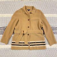 Lands End Boiled Wool Sweater Coat Coatigan Size 12 Camel Tan Striped Belted