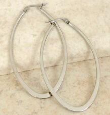 Large Oval Silver Hoop Earrings Stainless Steel Polish Finish Snap Hinge 2 1/2""