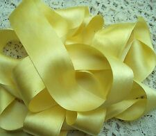 "100% PURE SILK SATIN RIBBON [36MM] 1 1/2"" WIDE  P.YELLOW 1 1/2 YDS"