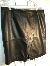 HALOGEN WOMEN'S BUTTER LEATHER PANELED SKIRT 16W BLACK EUC