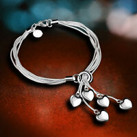 Fashion Women 5 Heart Multilayer Bracelet Bangle Silver Plated Lady Jewelry Gift