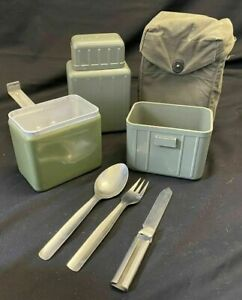 Yugoslavian Military Mess Tin Set With KFS Set And Fabric Buttoned Storage Pouch