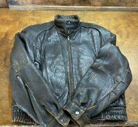 Vintage Men's Motorcycle Leather Jacket  ~ Police Riding Coat Size M Medium