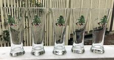 Set of 5 Tienshan Pilsner Beer Glasses Holiday Hostess Christmas Tree Design