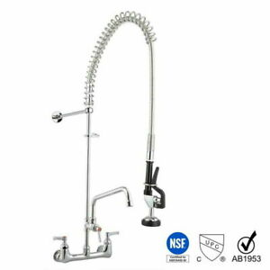 """12"""" Commercial Pre-Rinse Sink Faucet Pull Kitchen Down Sprayer Mixer Wall Tap"""