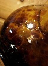 Vintage Custom Hand Blown Glass Leopard Pattern Vase Textured Heavy Gold Bronze
