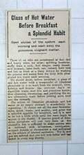 1917 Glass Of Hot Water Before Breakfast Is A Splendid Habit