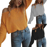 US Women Off the Shoulder Chunky Knitted Jumper Pullover Loose Baggy Sweater Top
