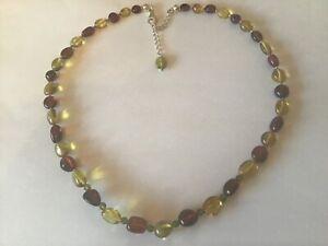 925 Silver Amber & Peridot  Bead Necklace QVC Jewellery