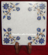 Lapis Lazuli Stone Inlay Marble Decorative Plate, Antique Home Decor Marble Tray