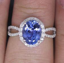 SOLID 18K WHITE GOLD NATURAL VIOLET BLUE TANZANITE ENGAGEMENT VVS DIAMOND RING