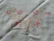 Ecru petit embroidered tablecloth pink gold white florals mosaic framing vtg