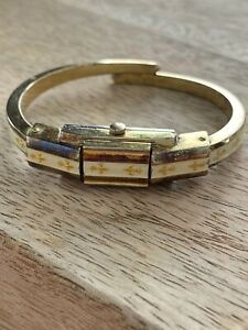 VTG Bucherer Gold Plated Watch Enamel Fleur De Lis Wind Up Cuff Bracelet WATCH