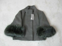 NEW Yes London Jacket Womens Large Size 10 EUR 44 Green Fur Button Front $714