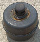 ANTIQUE red SMUDGE POT TOLEDO PRESSED STEEL CO flat top & bottom VTG old FLARE