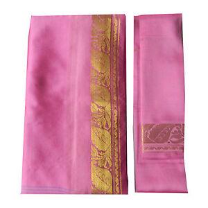 Sari rosa claro brocado dorado bindi instrucciones ropa típica India poliéster