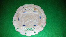 VINTAGE CARVED SOAPSTONE DISPLAY PLATE WITH ELEPHANT DESIGN