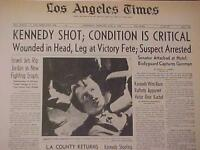 VINTAGE NEWSPAPER HEADLINE ~SENATOR ROBERT F KENNEDY RFK GUN SHOT HEAD DIES 1968
