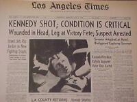 VINTAGE NEWSPAPER HEADLINE ~SENATOR ROBERT KENNEDY RFK ATTACK GUN SHOT DIES 1968