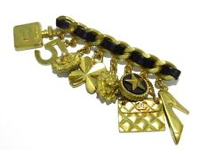 Hardware Leather Brooch Auth Chanel Gold Black
