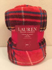 Ralph Lauren Red Tartan Plaid Throw Blanket Black Yellow Blue White Fleece