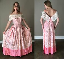Vintage 1960s Dress Maxi Off The Shoulder Lace Cream Pink Wedding Bridal Easter