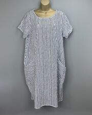NEW Italian Dress Blue White Striped Balloon Loose Lagenlook UK Size 14 16 18