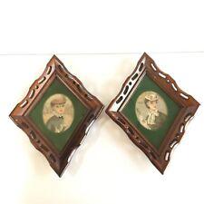 (2) Victorian ladies hats portraits prints framed wood VTG frames wall art 70s