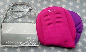 Silver Cross Pioneer Wayfarer Pram Seat Liner Raspberry Pink & Purple Pack Bag