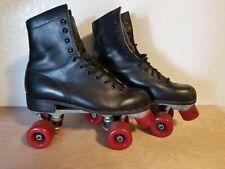 Vintage 80's Roller Derby Skates Size 9 Urethane Black Leather Red Wheels Og