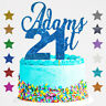 Personalised Happy 21st Birthday Glitter Cake Custom Topper Name  Age 18 16 30