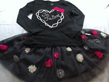 TCP Black White Heart Je T''aime Top/Sparkly Tulle Twirl Skirt 5-6 7-8 Outfit G3