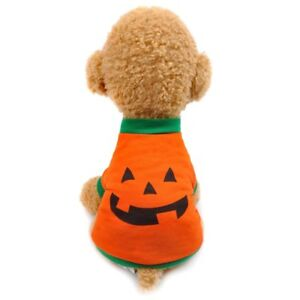 Halloween Costume for Dogs and Cats Soft Cotton Pumpkin Clothes