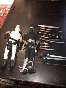 "Vintage Hasbro GI Joe Snake Eyes & Storm Shadow 12"" Figure set w/ accessories"