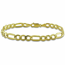 Amour 10k Yellow Gold Men's Figaro Link Bracelet with Lobster Clasp 9""
