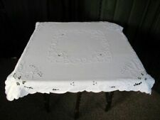 PRETTY TABLECLOTH with EMBROIDERY ~ WHITE COTTON