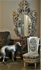"""Huge & Rare Antique Ornate Carved Wood French Mirror Birds Chinoiserie 67"""""""