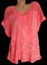 Tunika Shirt Bluse bestickt Häkel Spitze große Größe Übergröße Coral 44 46 48