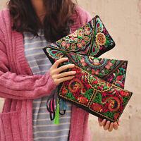 BE_ HB- Retro Women Boho Ethnic Embroidered Wristlet Clutch Bag Handmade Purse W