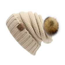 Winter Warm Women Ladies Beanie Hat Knitted Pom Fleece Lined Cap Fashionable