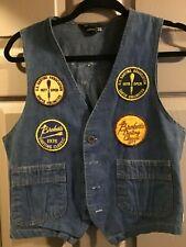 Vintage Jcpenney Jean Jacket Vest Dart League-W/ Patches 1970's