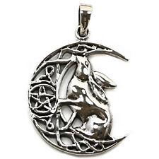 .925 Solid Sterling Silver Moon Gazing Hare Pentagram Pendant P067